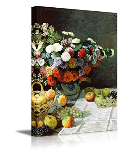 Still Life with Flowers and Fruit by Claude Monet Impressionist Art