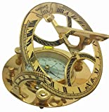 BEAUTIFULLY-MADE LARGE 5-INCH SOLID BRASS SUNDIAL COMPASS with CALLIBRATED WHITE DIAL