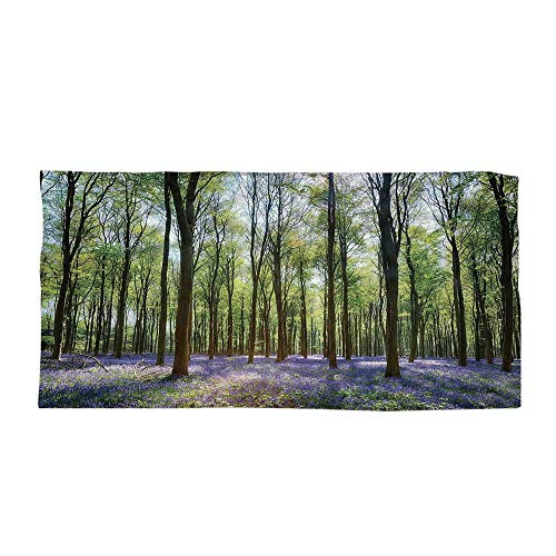 iPrint Cotton Microfiber Beach Towel,Woodland Decor,Bluebells in Wepham Woods Landscape Flowers Rural Countryside Woodland,for Kids, Teens, and Adults by iPrint (Image #3)