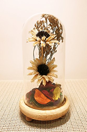 Ryocas Decorative Holder - Romantic Artificial Dried Flower Bouquet Plant Crystal Glass Dome Cloche Bell Jar Terrarium With Wood Stand Pedestal For Home Decor Wedding Centerpiece, 8-Inch - Dried Flowers Centerpiece