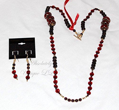 Garnet Glory - Garnet and Lampwork Necklace & Earrings