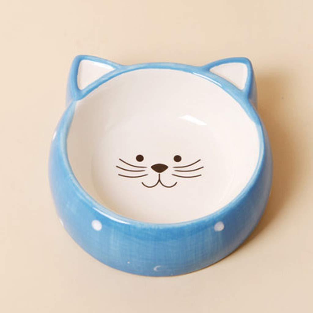 CXQ Dog Bowl Cat Bowl Creative Cute Wave Point Cat Ceramic Bowl Cat Food Dog Food Bowl bluee Pet Supplies