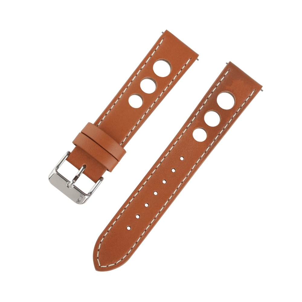 Ivystore 20mm 22mm 24mm 3 Holes Genuine Italian Leather Rally Racing Sport Watch Strap with Quick Release Spring Bar And Stainless Steel Buckle (20mm, Red.Brown)