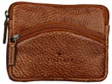 Finelaer Men Brown Leather Mini Coin Purse Pouch Wallet