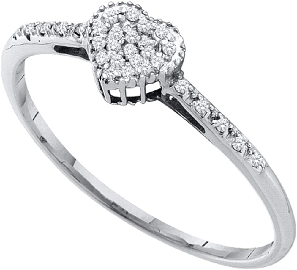 Sonia Jewels 10k White Gold Heart Love Shape Center Pave...