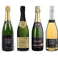 Sparkling Wine Sampler - Four (4) Non-Alcoholic Wines 750ml Each - Elivo Zero Zero Deluxe Sparkling, Pierre Chavin Zero Blanc Sparkling, Princess Bollicine Bianco Extra Dry and Tautila Espumoso Blanco