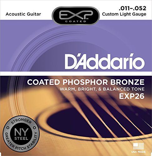 Daddario Custom Light - D'Addario EXP26 with NY Steel Phosphor Bronze Acoustic Guitar Strings, Coated, Custom Light, 11-52