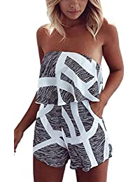 Women Off Shoulder Romper Strapless Short Pants Striped Beach Shorts Jumpsuit
