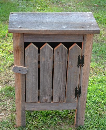 Barnwood Decor – Picket Front Small Barn Wood Cabinet – Amish Country Collectible Handmade Primitive Rustic Country Decor Small Barn Wood Cabinet – 29…