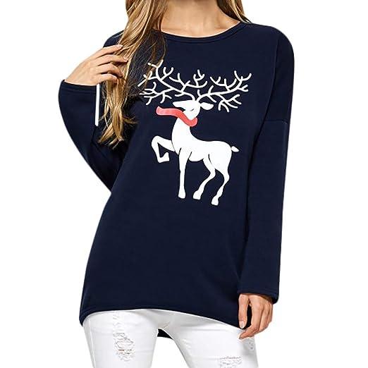 Kolylong Mujer Cuello redondo manga larga navidad. Camisa ...