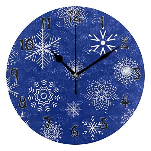 Dozili Fox Owl Elk Wooden Round Wall Clock Arabic Numerals Design Non Ticking Wall Clock Large for Bedrooms,Living Room,Bathroom