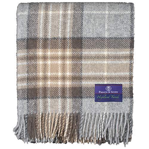 (Prince of Scots Highland Tartan Tweed 100% Pure New Wool Throw ~ McKellar ~ (Tan Plaid))