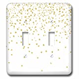 3dRose lsp_269070_2 Luxury Chic and Trendy Faux Gold Glitter Confetti Hearts on White Toggle Switch, Mixed