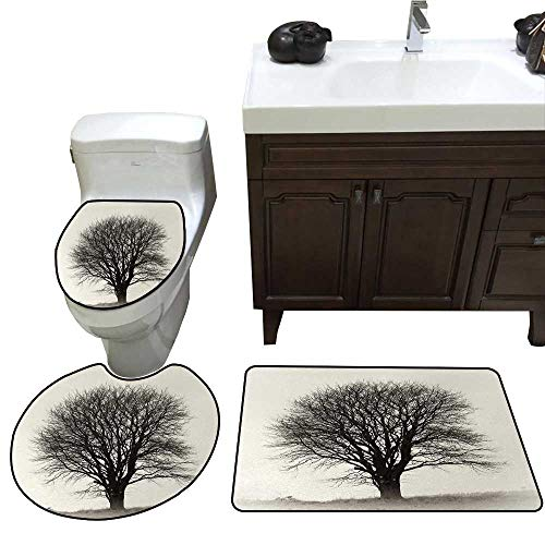 John Taylor Black and White 3 Pc Bath Rug Set Lonely Tree in Field with Many Leafless Branches Countryside Vintage Rug Contour, Mat and Toilet Lid Cover Ivory Dark Grey