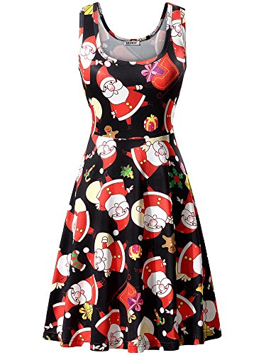 (HUHOT Santa Claus Dress Women Xmas Gift Print Black A Line Sleeveless Party Dress(X-Large, Happy)