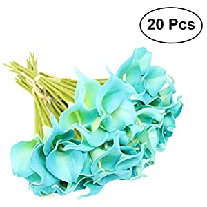 WINOMO Artificial Calla Lily Flower Bouquets Blue Pack of 20 85