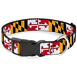"""Buckle-Down Plastic Clip Collar - Maryland Flags - 1"""" Wide - Fits 15-26"""" Neck - Large"""