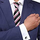Y&G A1132 Black Stripes Online Goods Mens Pink White Buy For Working Silk Tie Cufflinks Set 2PT