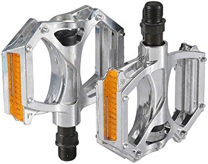 MiaoMiao MIAO - Pedal de Aleación de Aluminio para Bicicleta con Película Reflectante, Plata: Amazon.es: Deportes y aire libre