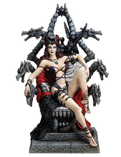 "9.25"" Throne of Possession Statue Fantasy Sculpture Gothic Dragon Decor"