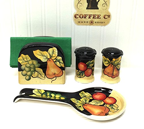 Tuscany Black Winter Fruit Hand Painted, 4pc Stove Top/Table Set, Napkin,Salt, Pepper and Spoon Rest, 85925/28 by ACK