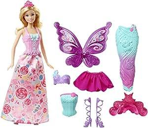 Barbie Dreamtopia, muñeca fiesta de disfraces princesa, sirena y hada (Mattel DHC39)