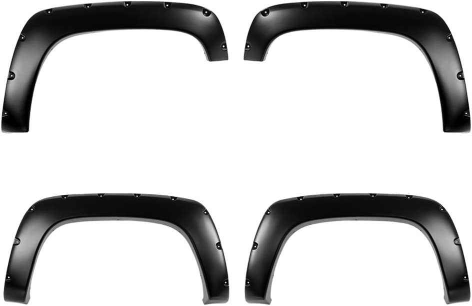 Smooth Finish Pocket Rivet Style Heavy Duty ABS Blister Plastic Fender Flare Compatible with 1988-1999 Chevrolet GMC CK 1500 2500 3500 Standard Bed 6.5ft /& Long Bed 8ft Blazer