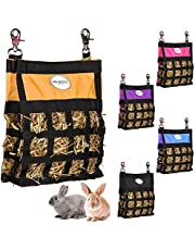 Majestic Ally Guinea Pig Hay Feeder – Rabbit Hay Feeder – Premium Quality Highly Durable Nylon – Three Side Open Slow Feed Hay Bag for Small Animals – 5 Lovely Colors (Orange)