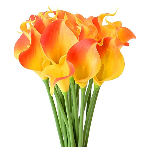 Lilly Floral (StarLifey 20pcs Real Touch Artificial Silk Flower Bundle Fake Calla Lily Nearly Natural Flower Bouquets (Sunset))