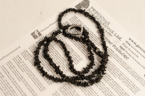 Black Tourmaline Necklace Chip Beads Nuggets Long Strand 35 Inch with Clasp