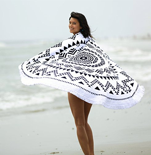 Bonita Beach Collection Round 'Roundie' Beach Towel Thick Terry Cotton with Fringe Tassels - Various Designs & Colors (The Wanderlust (Black & White))