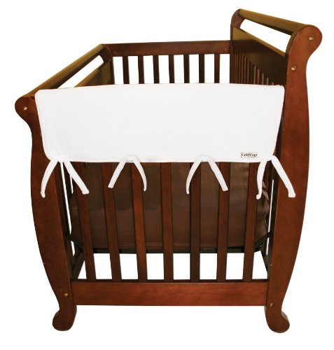 """Trend Lab Fleece CribWrap Rail Covers for Crib Sides (Set of 2), White, Wide for Crib Rails Measuring up to 18"""" Around!"""