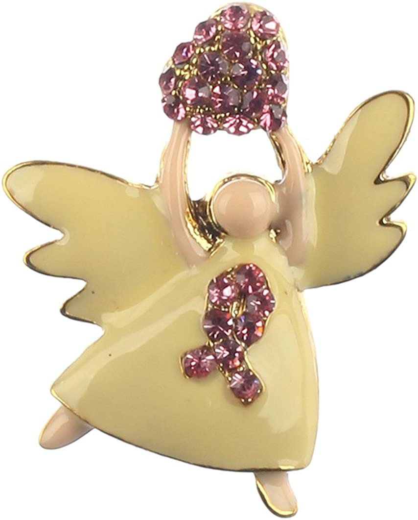 MMP30157 Pink Fashion Jewelry ~Angel Breast Cancer Awareness Brooch Pin Set of 2