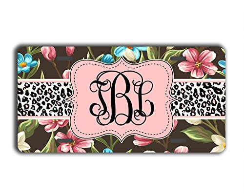 Monogrammed pretty license plate [Custom] - Floral pattern with cheetah print, black, pink, blue - To Gild The Lily® - Floral Cheetah
