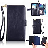 universal anti tip bracket - iPhone 6 / 6s Cover - TYoung Advanced Genuine Leather Magnetic Wallet [Wrist Strap] Flip Case [Removable Card Holder] Detachable Cover Compatible with Car Mount Holder Cover - Blue
