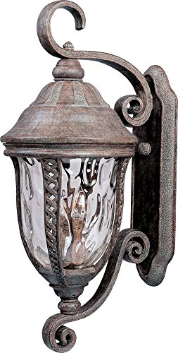 (Maxim 3109WGET Whittier Cast 3-Light Outdoor Wall Lantern, Earth Tone Finish, Water Glass Glass, CA Incandescent Incandescent Bulb , 2.5W Max., Dry Safety Rating, 3000K Color Temp, Standard Triac/Lutron or Leviton Dimmable, Frosted Acrylic Shade Material, 4200 Rated Lumens)