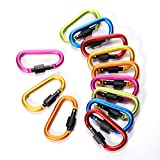 """4ucycling Aluminum Alloy D Shape Key Ring Buckle Screw Lock Carabiner Super-handy Spring Snap 3"""" Lightweight Idea for Outdoor Use Pack of 12"""