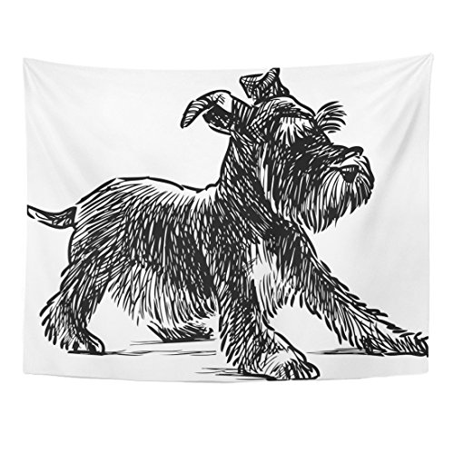 Emvency Tapestry Dog Schnauzer Puppy Drawing Silhouette Animal Beard Black Home Decor Wall Hanging for Living Room Bedroom Dorm 60x80 Inches