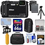 Nikon Coolpix W300 4K Wi-Fi Shock & Waterproof Digital Camera (Black) + 64GB Card + Battery & Charger + Diving LED Video Light + Buoy + Cases + Tripod Kit