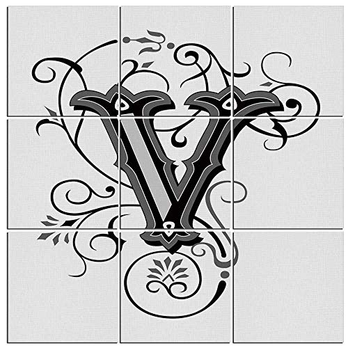 Arts Wall Art Canvas Letter V 9 Panels Modern Canvas Painting Prints Giclee Prints for Home Decor Framed Ready to Hang,Gothic Halloween Style Uppercase V with Curved Lines Ivy Stripes Calligraphy Dec -