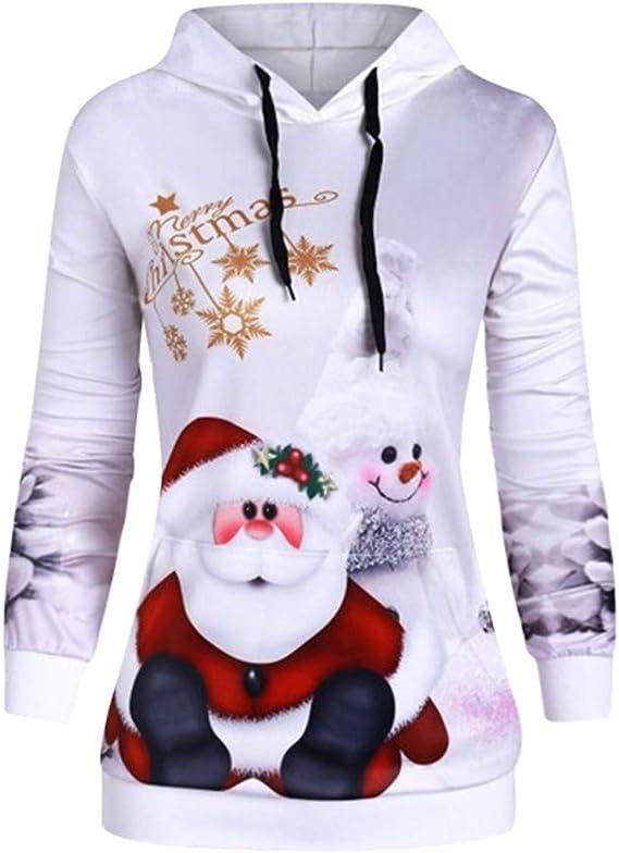 Barkoiesy Pull Fantaisie Noël Femme Tricoté Tops Père Noël