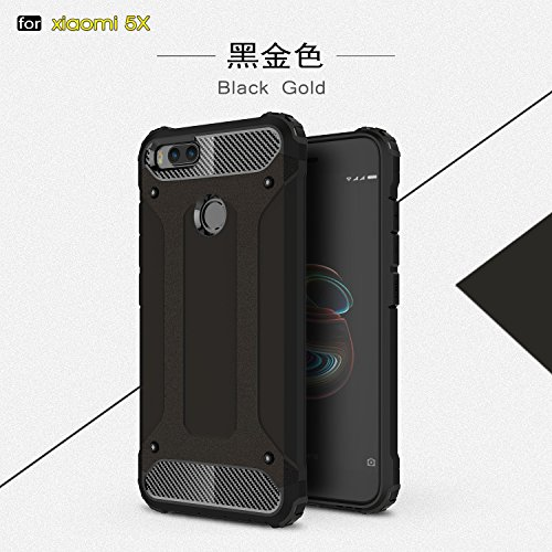 Fundas Xiaomi Mi 5X,XINYUNEW TPU+PC [Regalo Cristal Vidrio Templado] Premium Armadura Híbrido caja de la armadura para el teléfono Silicona Carcasa Case Funda para Xiaomi Mi 5X Plata Negro
