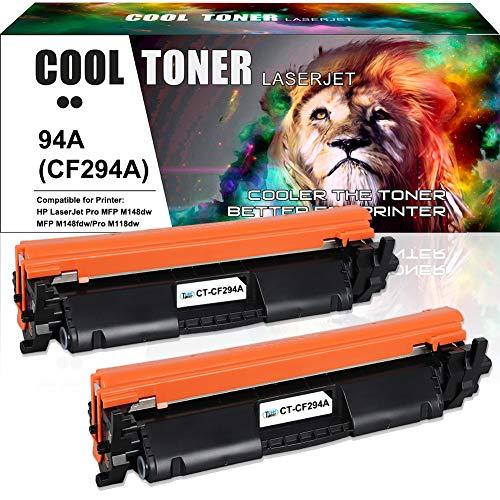 Cool Toner Compatible Toner Cartridge Replacement for HP 94A 94X CF294A CF294X Toner Cartridge for HP Laserjet Pro MFP M148fdw, MFP M148dw, Pro M118dw, M118, Pro MFP M148,Printer Toner (Black, 2-Pack)
