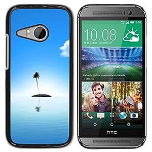 PC/Aluminum Funda Carcasa protectora para HTC ONE MINI 2 / M8 MINI Palm Tree Lonely Island Ocean Sea Light Blue / JUSTGO PHONE PROTECTOR