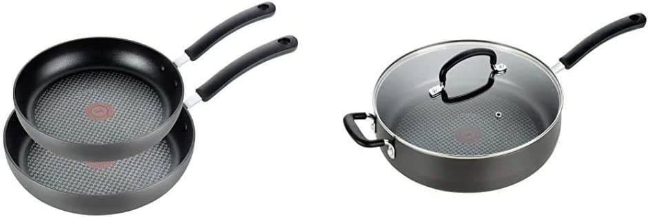 T-fal E765S2 Ultimate Hard Anodized 8 In and 10 In Fry Pan Cookware Set, 2 Piece Frying Pan Set, Black & T-fal, Ultimate Hard Anodized, Nonstick 5 Qt. Jumbo Cooker, Black, E76582, 5 Quart, Grey