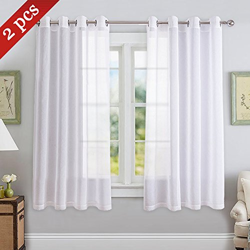 NICETOWN Sheer White Curtains for Bedroom - Grommet Top Faux Linen Texture Semi Voile Window Curtain Panel for Basement (White, 2-Pack, W55 x L45)
