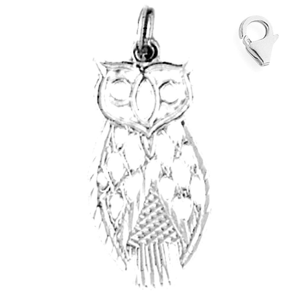 Sterling Silver 26mm Owl with 7.5 Charm Bracelet Jewels Obsession Owl Pendant