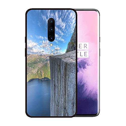 (Case for OnePlus 7 pro,Silicone Cover and Tempered Glass 2 Materials,Non-Slip, Anti-Drop, Anti-Scratch,Depict- Famous Pulpit Rock in Norway)
