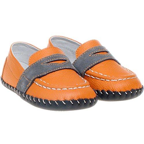 Little Blue Lamb–Niños Infant Toddler piel suave suela zapatos de bebé–color naranja con borde gris–con calzador