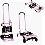 Hand Truck Foldable 300 Lbs Heavy Duty Lightweight Dolly Folding Durable Steel 4 Wheel Tires Folds Flat Easy Unloading Quick Conversion Easily Convenient Storage Adjustable & eBook By NAKSHOP